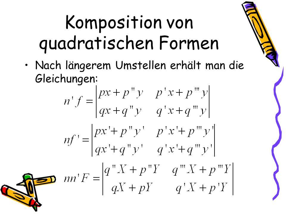 Komposition von quadratischen Formen Nach längerem Umstellen erhält man die Gleichungen: