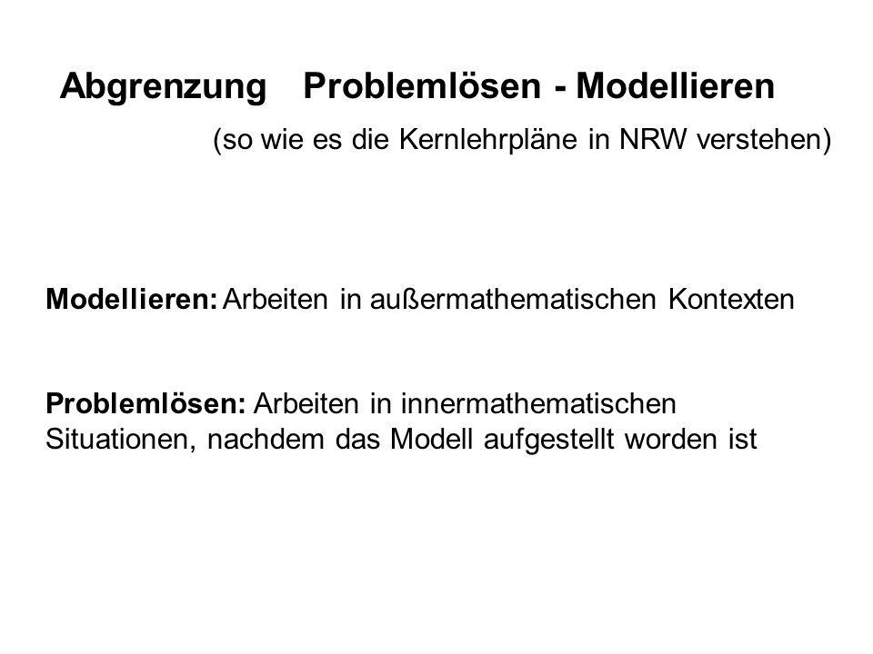 Abgrenzung Problemlösen - Modellieren Modellieren: Arbeiten in außermathematischen Kontexten Problemlösen: Arbeiten in innermathematischen Situationen
