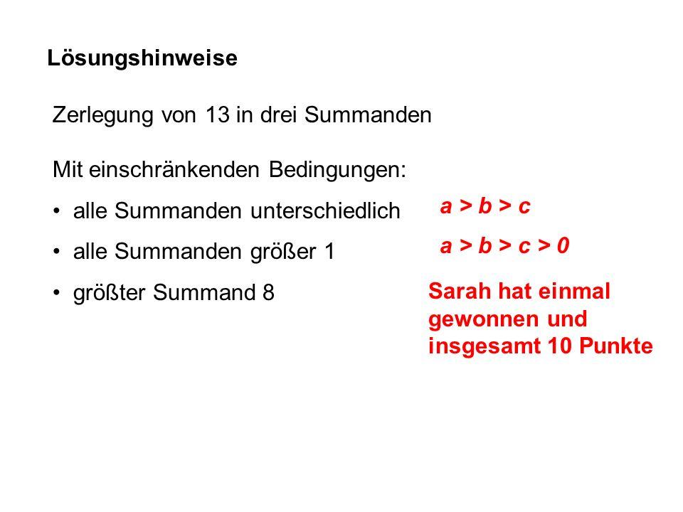 Lösungshinweise Zerlegung von 13 in drei Summanden Mit einschränkenden Bedingungen: alle Summanden unterschiedlich alle Summanden größer 1 größter Sum