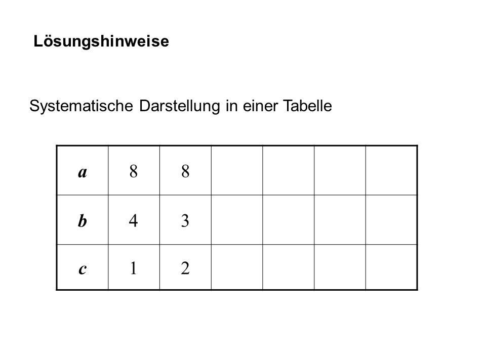 Lösungshinweise Systematische Darstellung in einer Tabelle a88 b43 c12