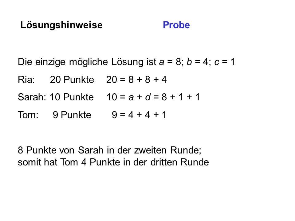 Lösungshinweise Die einzige mögliche Lösung ist a = 8; b = 4; c = 1 Ria: 20 Punkte20 = 8 + 8 + 4 Sarah: 10 Punkte10 = a + d = 8 + 1 + 1 Tom: 9 Punkte