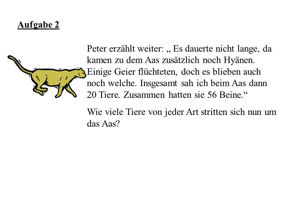 Aufgabe 2 Peter erzählt weiter: Es dauerte nicht lange, da kamen zu dem Aas zusätzlich noch Hyänen. Einige Geier flüchteten, doch es blieben auch noch