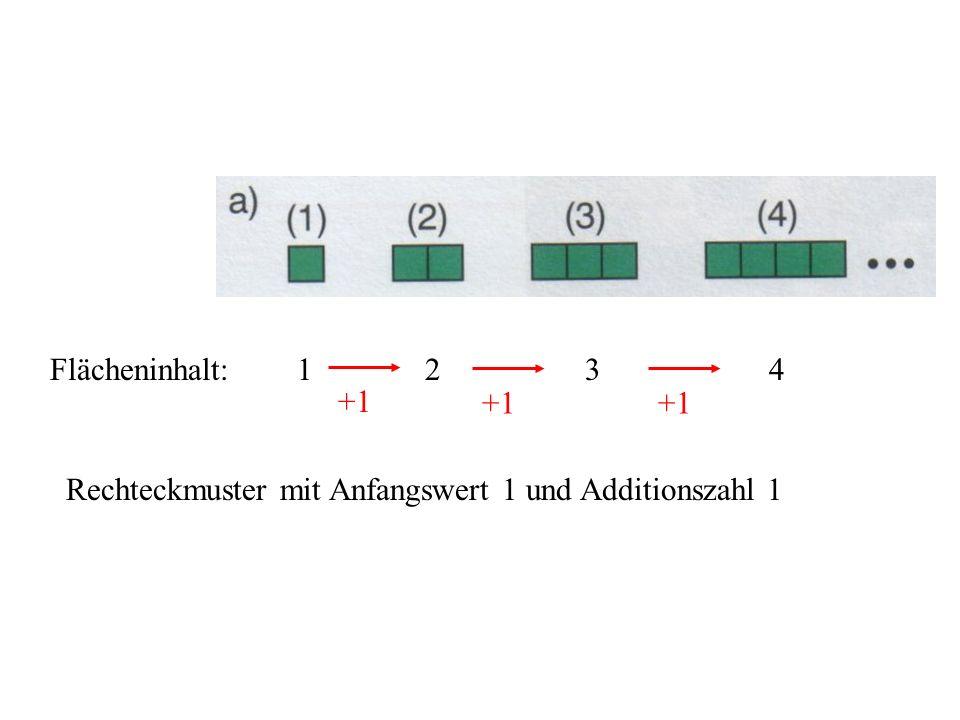 Flächeninhalt: 1 2 3 4 +1 Rechteckmuster mit Anfangswert 1 und Additionszahl 1