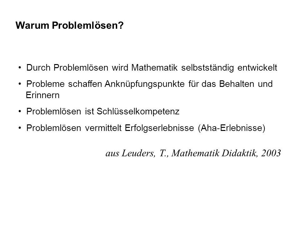 Warum Problemlösen? Durch Problemlösen wird Mathematik selbstständig entwickelt Probleme schaffen Anknüpfungspunkte für das Behalten und Erinnern Prob