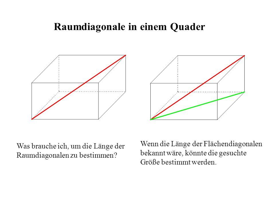 Raumdiagonale in einem Quader Was brauche ich, um die Länge der Raumdiagonalen zu bestimmen? Wenn die Länge der Flächendiagonalen bekannt wäre, könnte