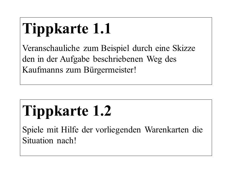 Tippkarte 1.1 Veranschauliche zum Beispiel durch eine Skizze den in der Aufgabe beschriebenen Weg des Kaufmanns zum Bürgermeister! Tippkarte 1.2 Spiel