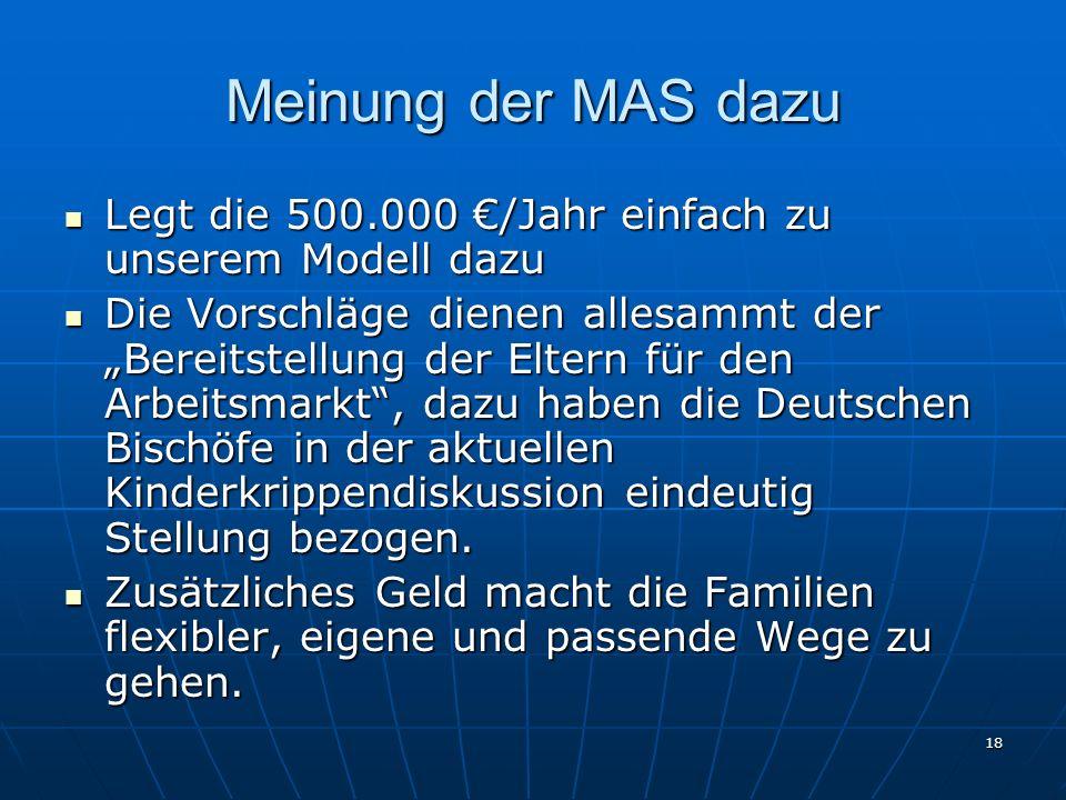 18 Meinung der MAS dazu Legt die 500.000 /Jahr einfach zu unserem Modell dazu Legt die 500.000 /Jahr einfach zu unserem Modell dazu Die Vorschläge die
