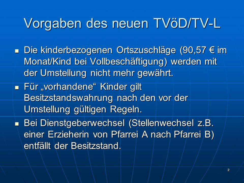 2 Vorgaben des neuen TVöD/TV-L Die kinderbezogenen Ortszuschläge (90,57 im Monat/Kind bei Vollbeschäftigung) werden mit der Umstellung nicht mehr gewä