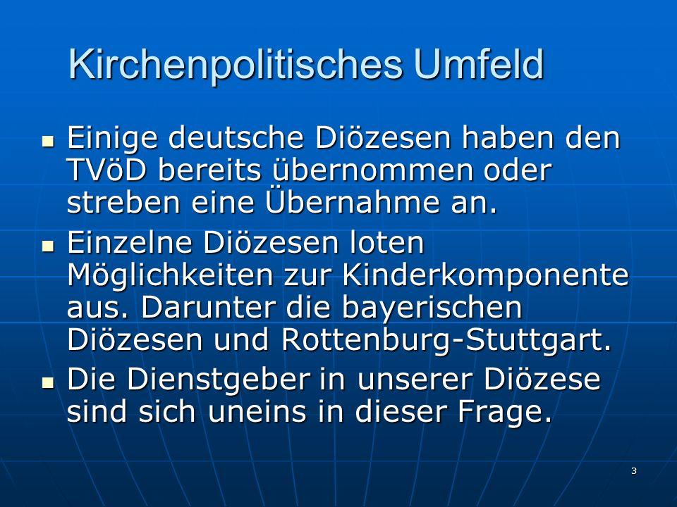 3 Kirchenpolitisches Umfeld Einige deutsche Diözesen haben den TVöD bereits übernommen oder streben eine Übernahme an. Einige deutsche Diözesen haben