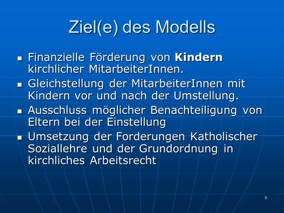 5 Ziel(e) des Modells Finanzielle Förderung von Kindern kirchlicher MitarbeiterInnen. Finanzielle Förderung von Kindern kirchlicher MitarbeiterInnen.