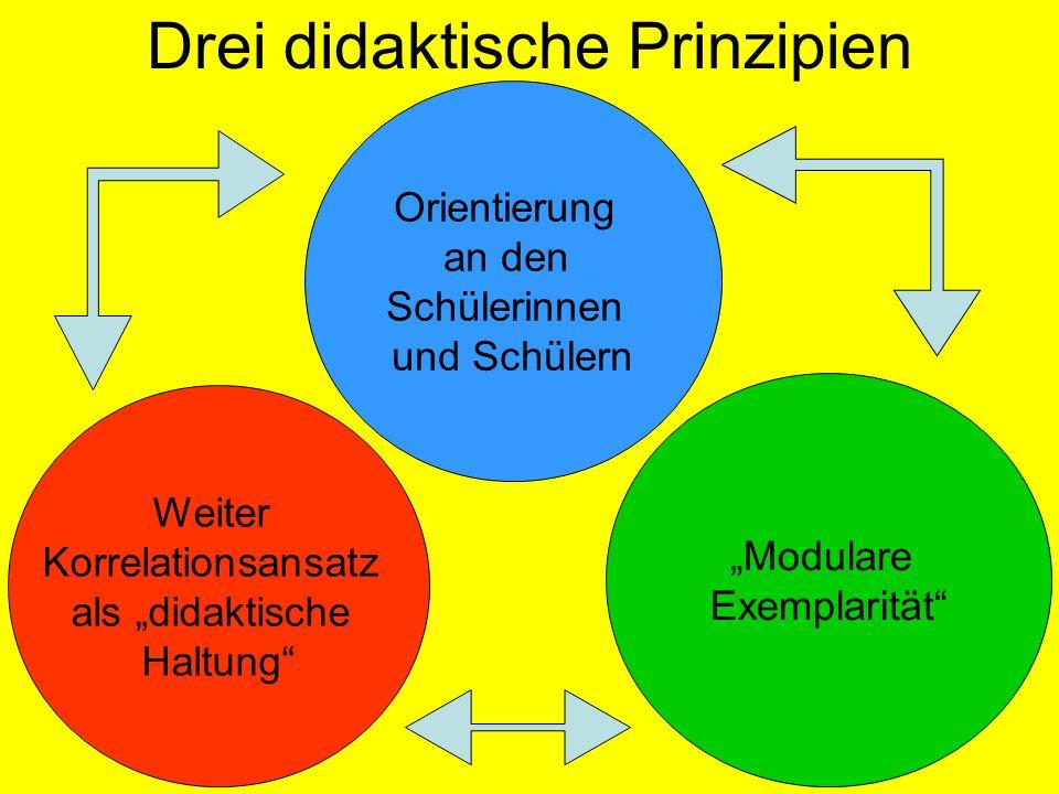 Orientierung an den Schülerinnen und Schülern Drei didaktische Prinzipien Weiter Korrelationsansatz als didaktische Haltung Modulare Exemplarität