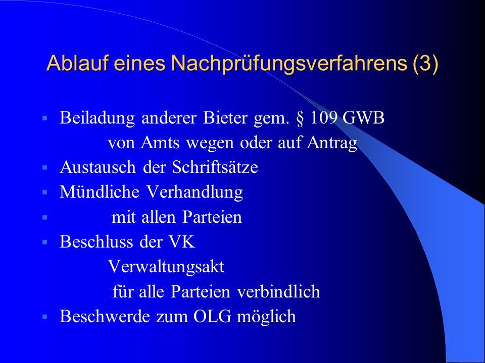 Ablauf eines Nachprüfungsverfahrens (3) Beiladung anderer Bieter gem. § 109 GWB von Amts wegen oder auf Antrag Austausch der Schriftsätze Mündliche Ve