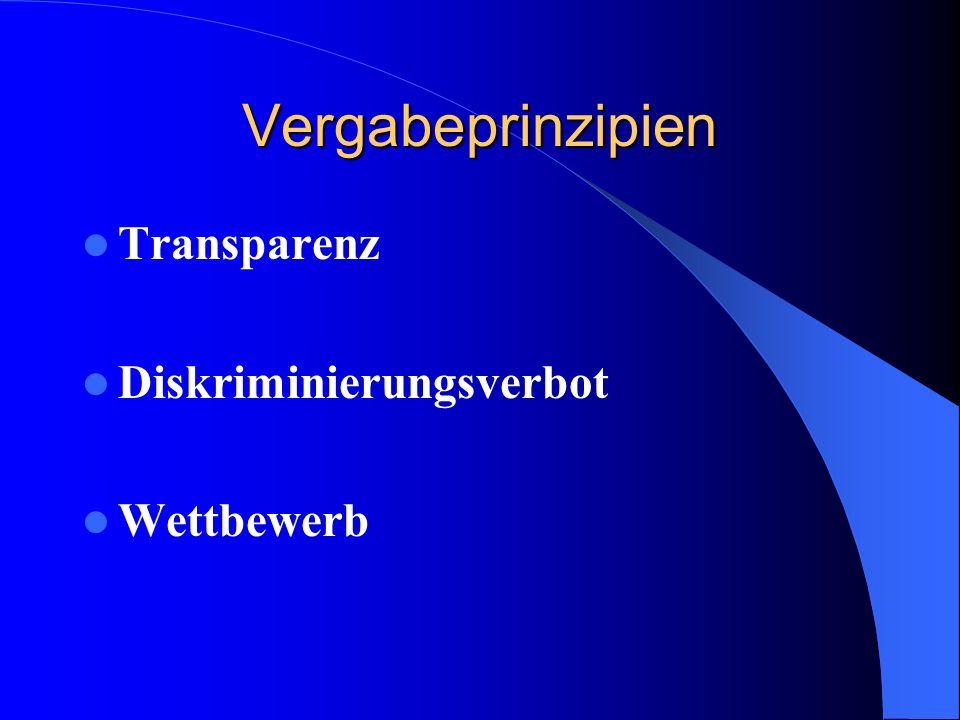 Vergabeprinzip Transparenz -vorhersehbare Entscheidungskriterien -nachvollziehbare Vergabeentscheidungen -Information der Bieter