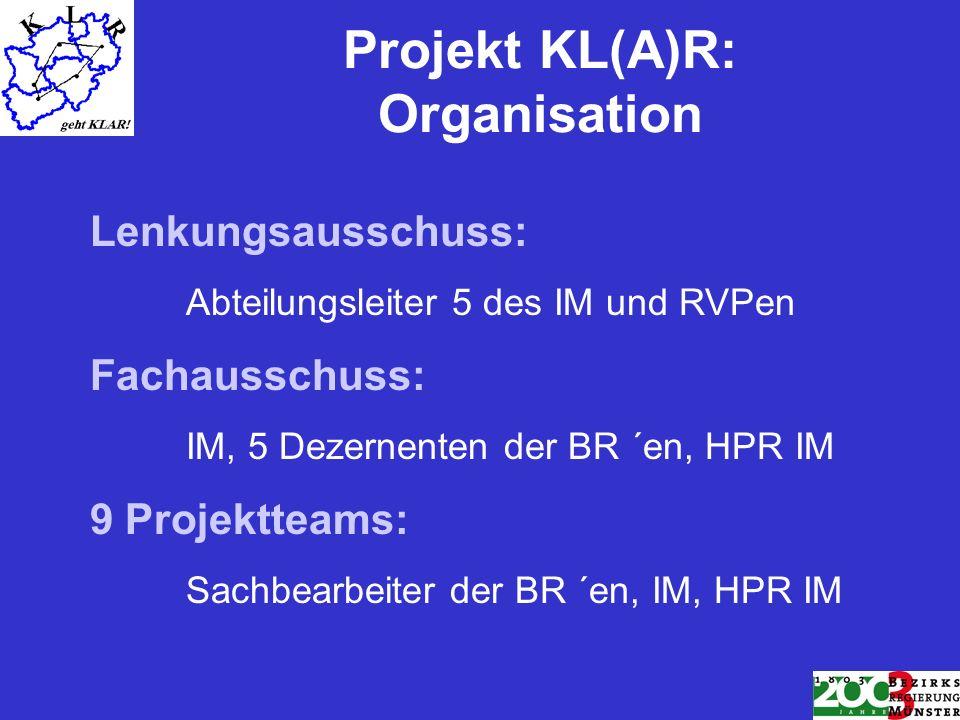 Projekt KL(A)R: Organisation Lenkungsausschuss: Abteilungsleiter 5 des IM und RVPen Fachausschuss: IM, 5 Dezernenten der BR ´en, HPR IM 9 Projektteams