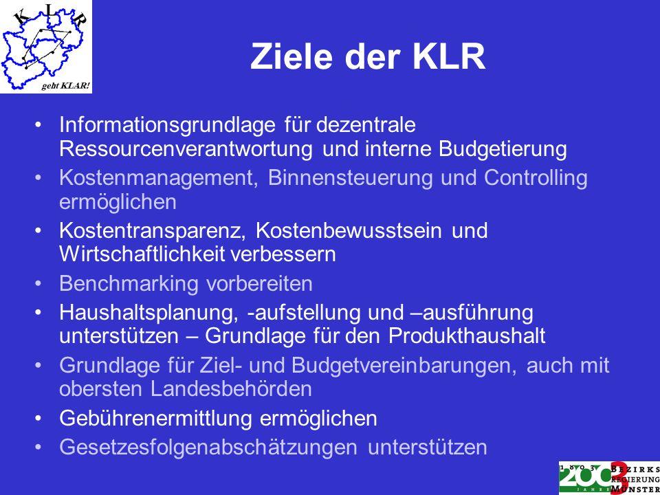 Ziele der KLR Informationsgrundlage für dezentrale Ressourcenverantwortung und interne Budgetierung Kostenmanagement, Binnensteuerung und Controlling