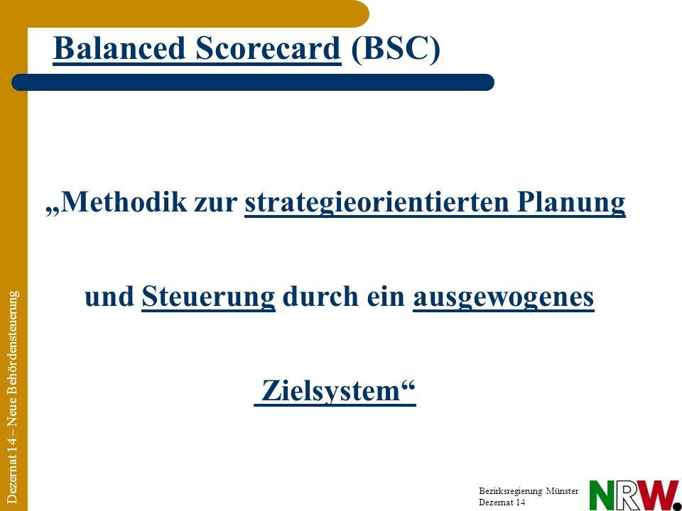 Methodik zur strategieorientierten Planung und Steuerung durch ein ausgewogenes Zielsystem Dezernat 14 – Neue Behördensteuerung Bezirksregierung Münster Dezernat 14 Balanced Scorecard (BSC)