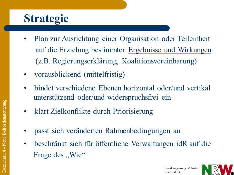 Dezernat 14 – Neue Behördensteuerung Bezirksregierung Münster Dezernat 14 Strategie beschränkt sich für öffentliche Verwaltungen idR auf die Frage des Wie Plan zur Ausrichtung einer Organisation oder Teileinheit auf die Erzielung bestimmter Ergebnisse und Wirkungen (z.B.