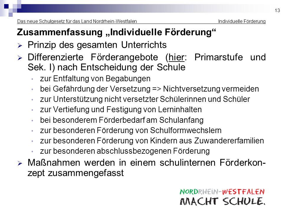 Das neue Schulgesetz für das Land Nordrhein-Westfalen Individuelle Förderung Zusammenfassung Individuelle Förderung Prinzip des gesamten Unterrichts D