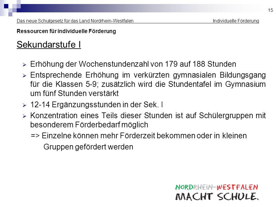 Das neue Schulgesetz für das Land Nordrhein-Westfalen Individuelle Förderung Ressourcen für individuelle Förderung Sekundarstufe I Erhöhung der Wochen