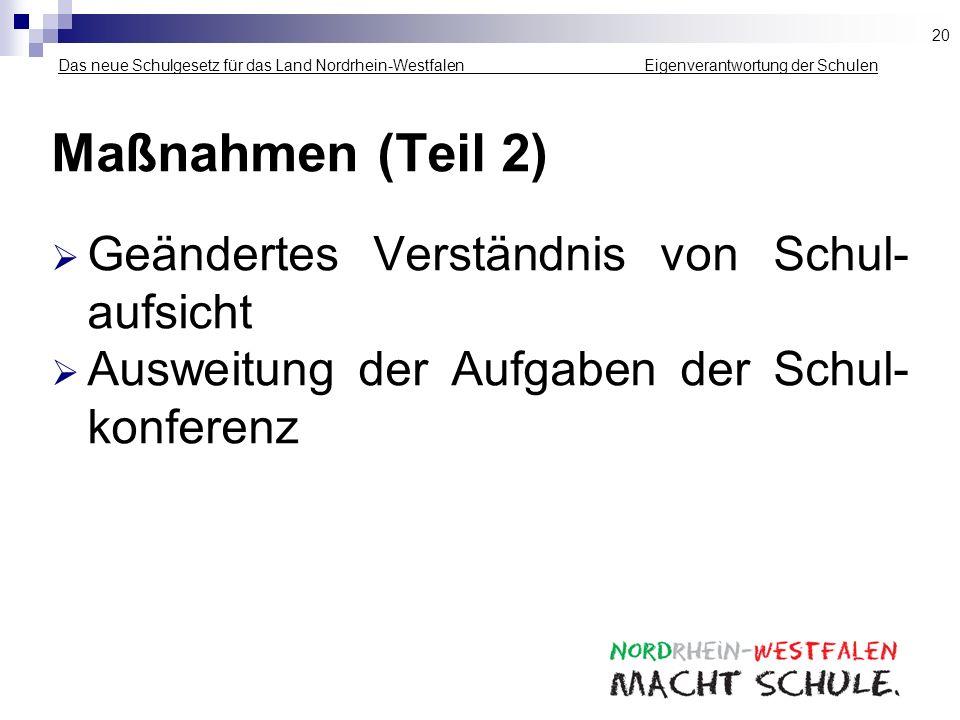 Das neue Schulgesetz für das Land Nordrhein-Westfalen _____________ Eigenverantwortung der Schulen Maßnahmen (Teil 2) Geändertes Verständnis von Schul