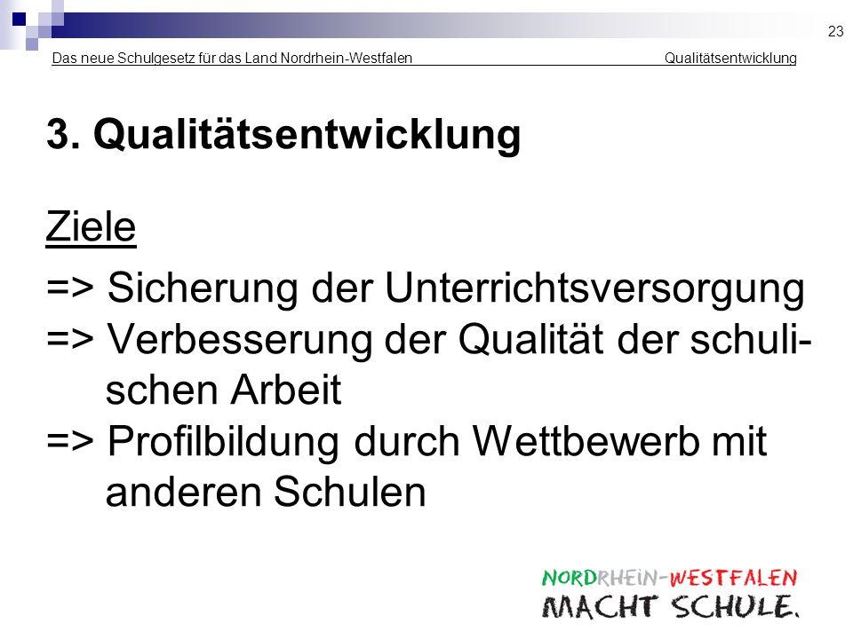 Das neue Schulgesetz für das Land Nordrhein-Westfalen ___ _______ __Qualitätsentwicklung 3. Qualitätsentwicklung Ziele => Sicherung der Unterrichtsver