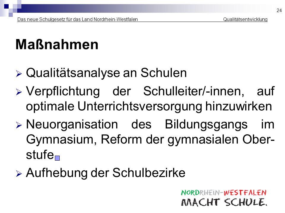 Das neue Schulgesetz für das Land Nordrhein-Westfalen _____________ Qualitätsentwicklung Maßnahmen Qualitätsanalyse an Schulen Verpflichtung der Schul
