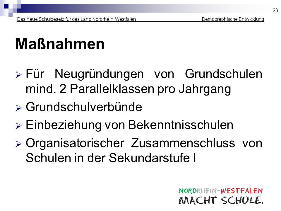 Das neue Schulgesetz für das Land Nordrhein-Westfalen _____________ Demographische Entwicklung Maßnahmen Für Neugründungen von Grundschulen mind. 2 Pa