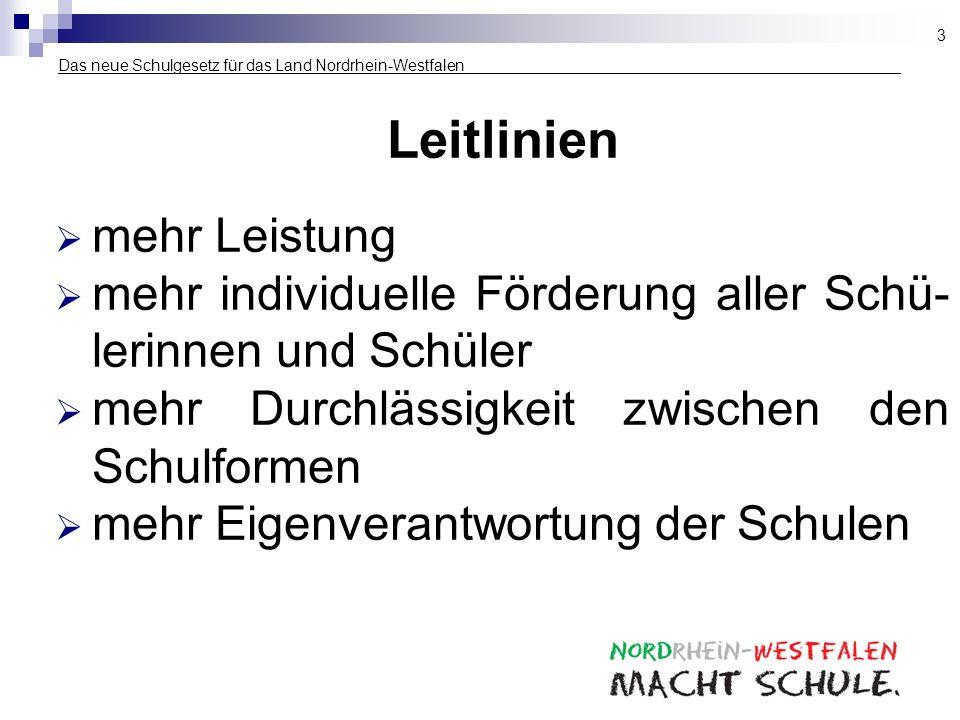 Das neue Schulgesetz für das Land Nordrhein-Westfalen ___________________ Leitlinien mehr Leistung mehr individuelle Förderung aller Schü- lerinnen un