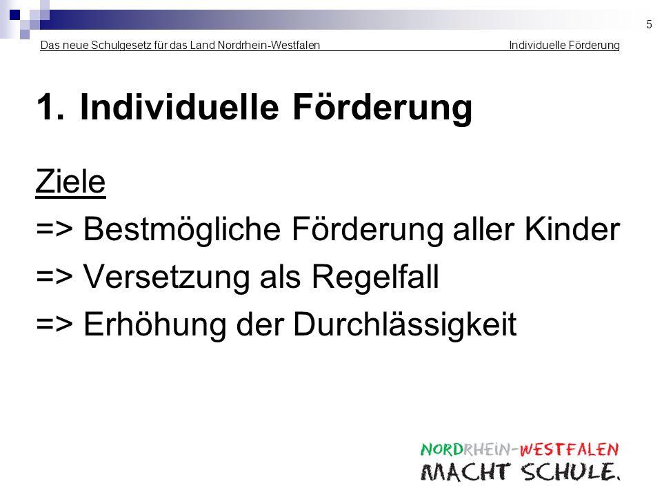 Das neue Schulgesetz für das Land Nordrhein-Westfalen _____________ _ Individuelle Förderung 1.Individuelle Förderung Ziele => Bestmögliche Förderung