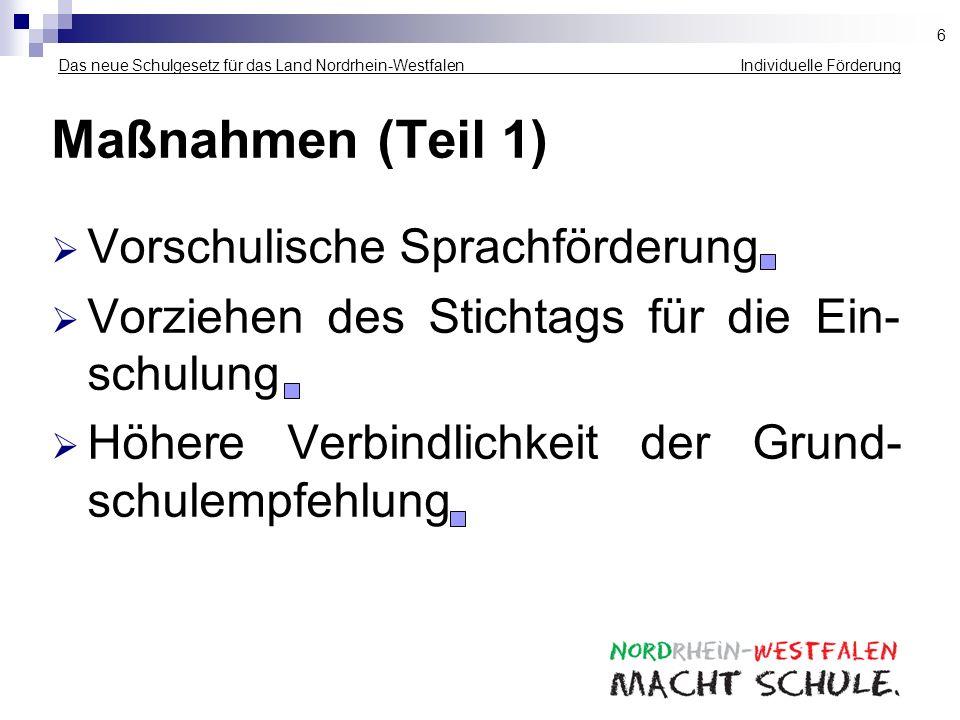 Das neue Schulgesetz für das Land Nordrhein-Westfalen Individuelle Förderung Maßnahmen (Teil 1) Vorschulische Sprachförderung Vorziehen des Stichtags