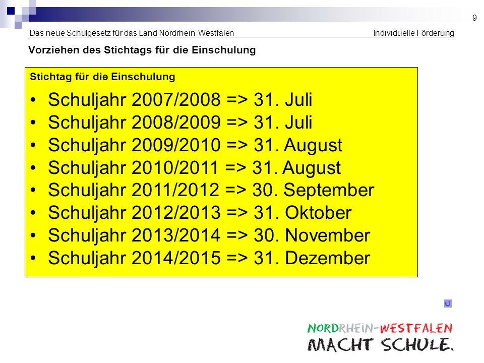 Das neue Schulgesetz für das Land Nordrhein-Westfalen Individuelle Förderung Vorziehen des Stichtags für die Einschulung Stichtag für die Einschulung