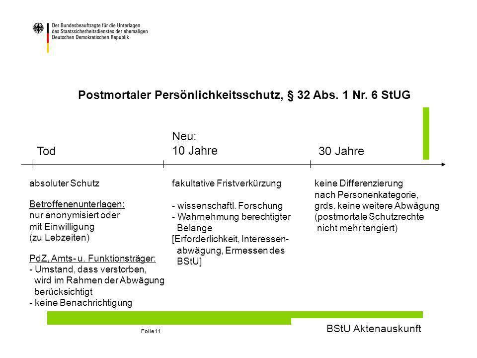 BStU Aktenauskunft Folie 11 Postmortaler Persönlichkeitsschutz, § 32 Abs.