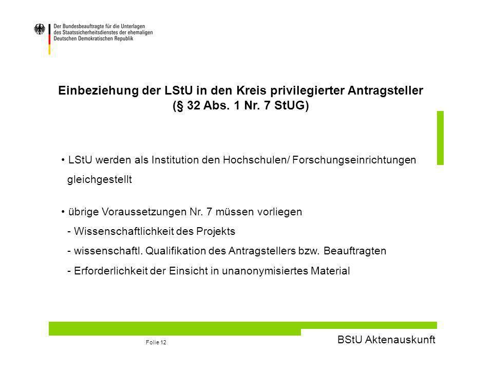 BStU Aktenauskunft Folie 12 Einbeziehung der LStU in den Kreis privilegierter Antragsteller (§ 32 Abs.