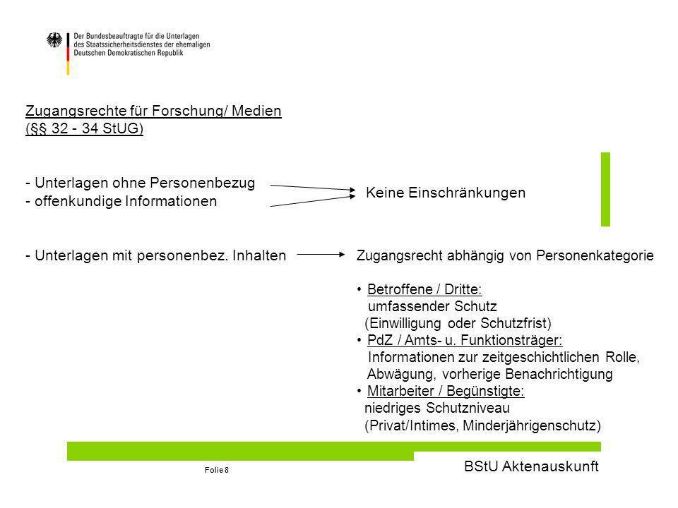 BStU Aktenauskunft Folie 8 Zugangsrechte für Forschung/ Medien (§§ 32 - 34 StUG) - Unterlagen ohne Personenbezug - offenkundige Informationen - Unterlagen mit personenbez.