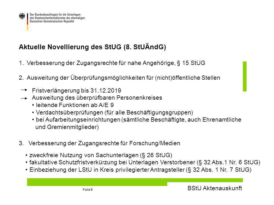 BStU Aktenauskunft Folie 9 Aktuelle Novellierung des StUG (8.
