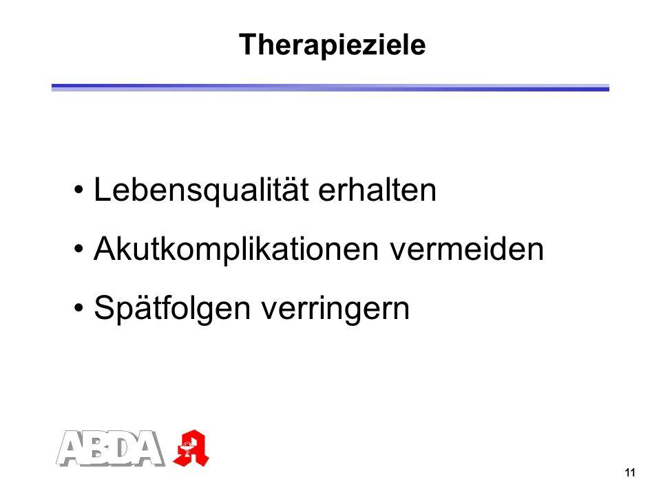 11 Therapieziele Lebensqualität erhalten Akutkomplikationen vermeiden Spätfolgen verringern