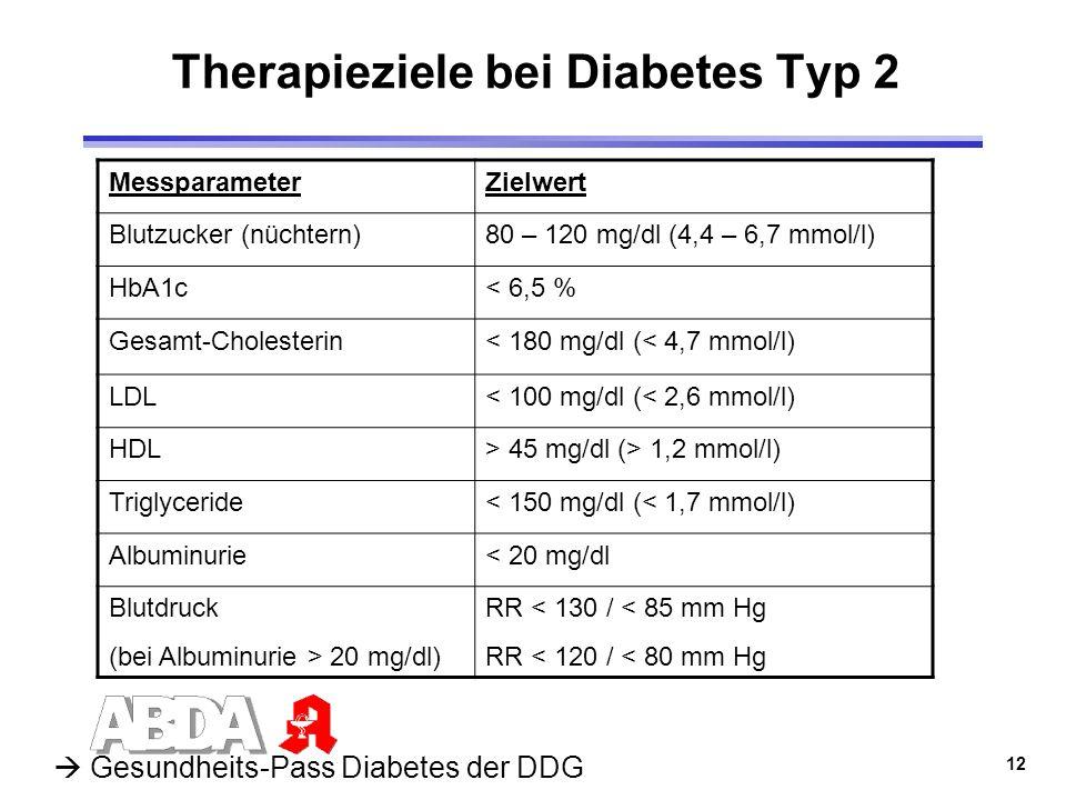 12 Therapieziele bei Diabetes Typ 2 MessparameterZielwert Blutzucker (nüchtern)80 – 120 mg/dl (4,4 – 6,7 mmol/l) HbA1c< 6,5 % Gesamt-Cholesterin< 180