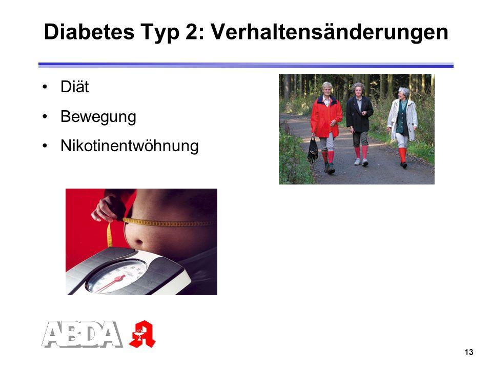 13 Diabetes Typ 2: Verhaltensänderungen Diät Bewegung Nikotinentwöhnung