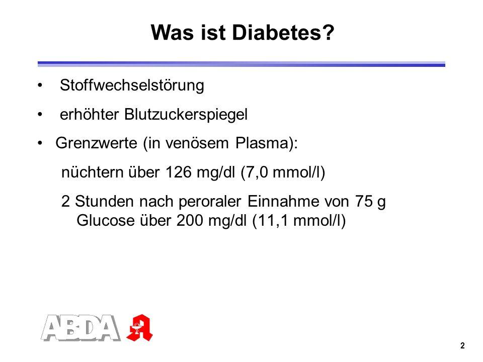 2 Was ist Diabetes? Stoffwechselstörung erhöhter Blutzuckerspiegel Grenzwerte (in venösem Plasma): nüchtern über 126 mg/dl (7,0 mmol/l) 2 Stunden nach