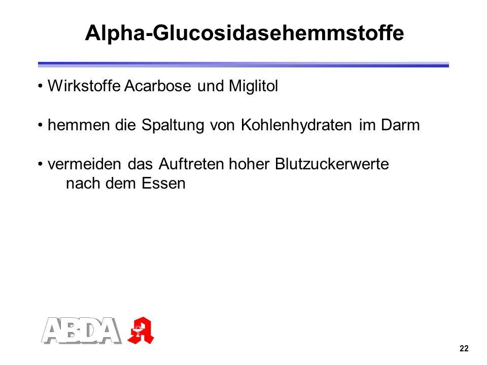 22 Alpha-Glucosidasehemmstoffe Wirkstoffe Acarbose und Miglitol hemmen die Spaltung von Kohlenhydraten im Darm vermeiden das Auftreten hoher Blutzucke