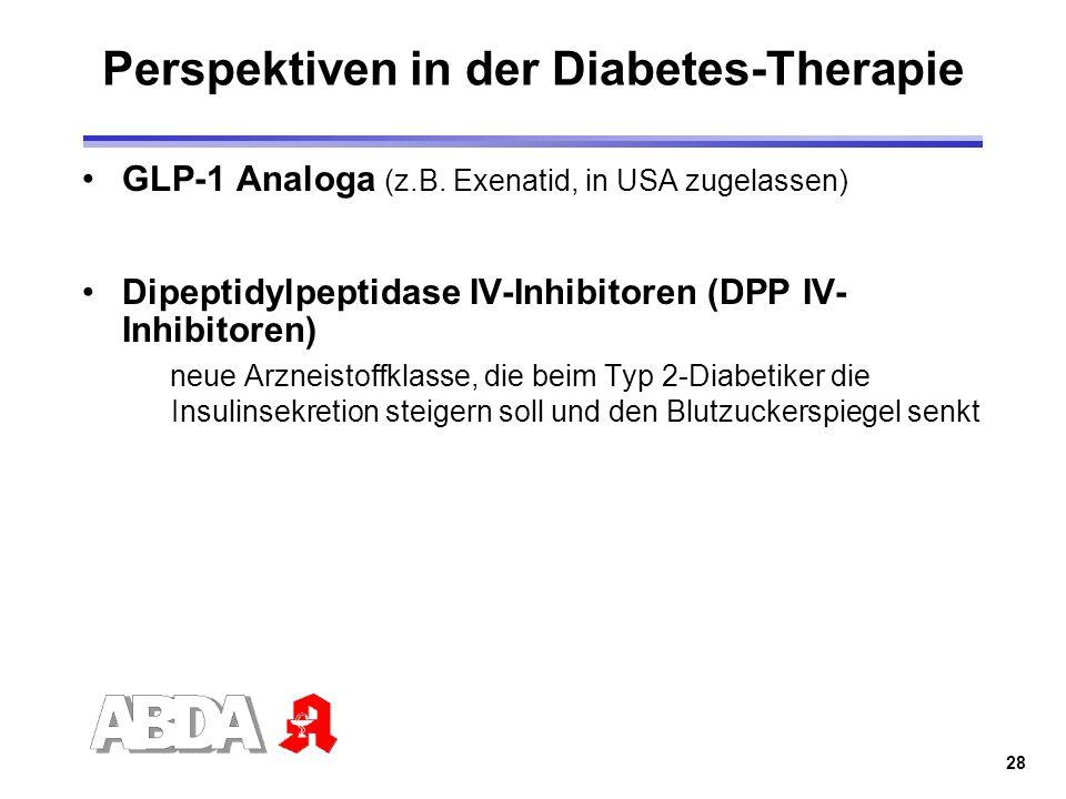 28 Perspektiven in der Diabetes-Therapie GLP-1 Analoga (z.B. Exenatid, in USA zugelassen) Dipeptidylpeptidase IV-Inhibitoren (DPP IV- Inhibitoren) neu
