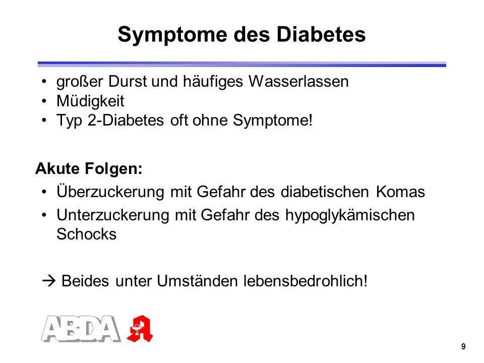9 Symptome des Diabetes großer Durst und häufiges Wasserlassen Müdigkeit Typ 2-Diabetes oft ohne Symptome! Akute Folgen: Überzuckerung mit Gefahr des