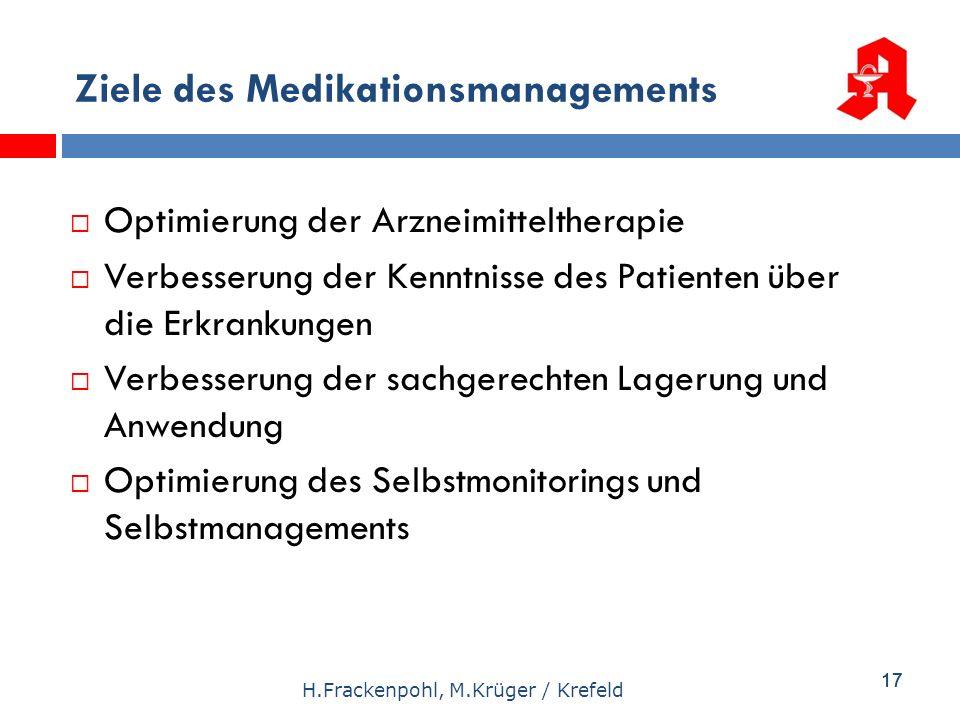 17 H.Frackenpohl, M.Krüger / Krefeld Optimierung der Arzneimitteltherapie Verbesserung der Kenntnisse des Patienten über die Erkrankungen Verbesserung
