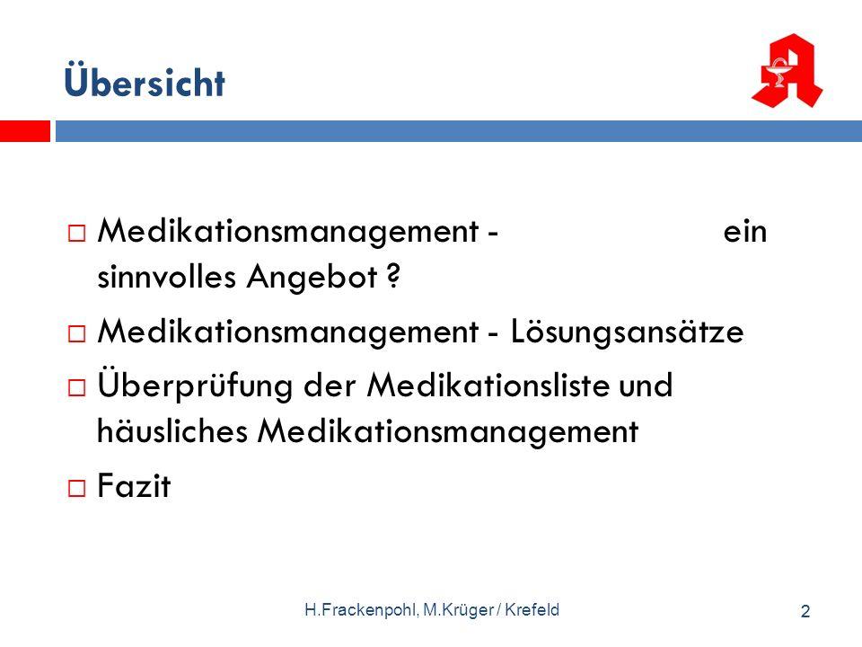 22 Übersicht Medikationsmanagement - ein sinnvolles Angebot ? Medikationsmanagement - Lösungsansätze Überprüfung der Medikationsliste und häusliches M