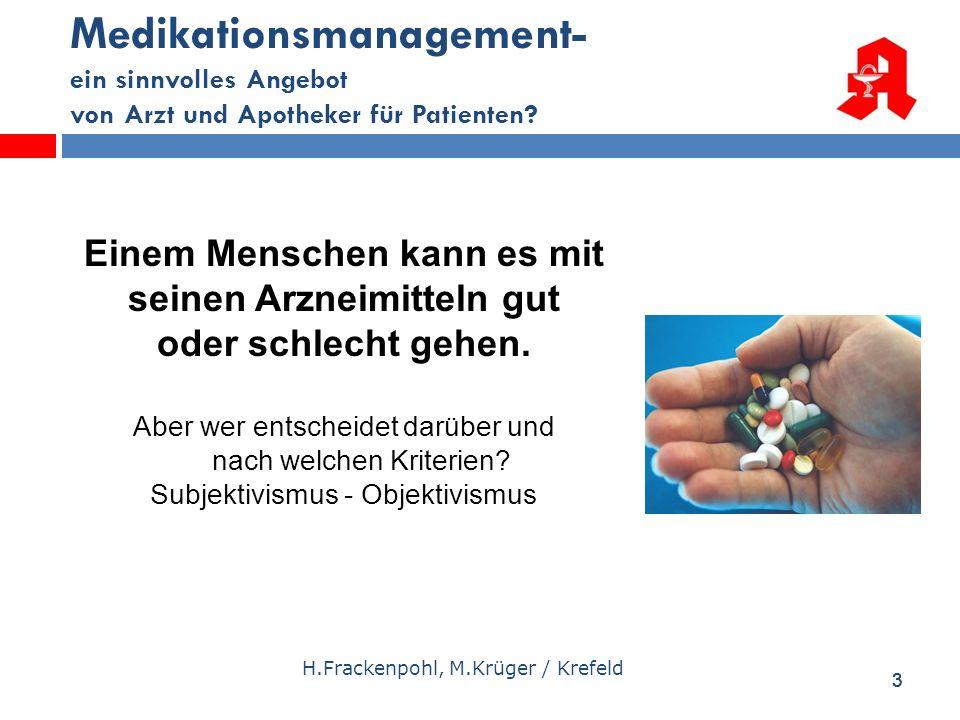33 Medikationsmanagement- ein sinnvolles Angebot von Arzt und Apotheker für Patienten? H.Frackenpohl, M.Krüger / Krefeld Einem Menschen kann es mit se