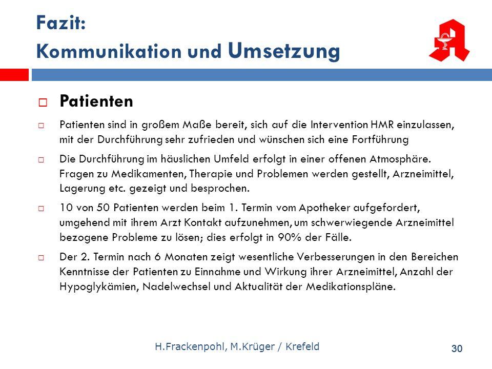 30 H.Frackenpohl, M.Krüger / Krefeld Fazit: Kommunikation und Umsetzung Patienten Patienten sind in großem Maße bereit, sich auf die Intervention HMR