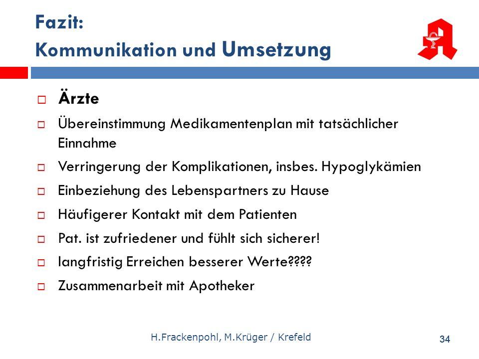 34 H.Frackenpohl, M.Krüger / Krefeld Fazit: Kommunikation und Umsetzung Ärzte Übereinstimmung Medikamentenplan mit tatsächlicher Einnahme Verringerung