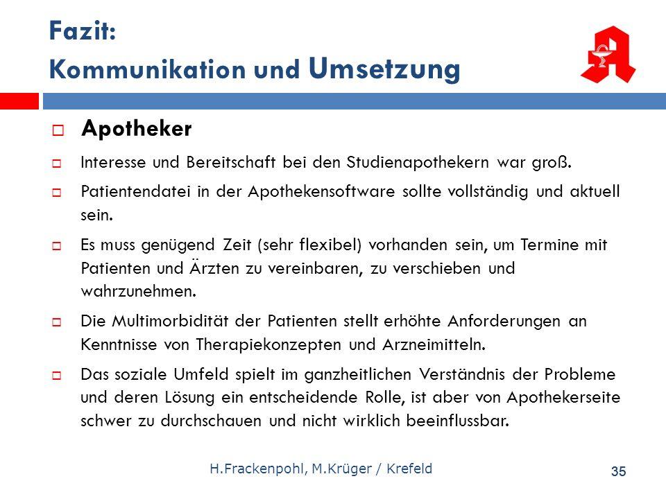 35 H.Frackenpohl, M.Krüger / Krefeld Fazit: Kommunikation und Umsetzung Apotheker Interesse und Bereitschaft bei den Studienapothekern war groß. Patie