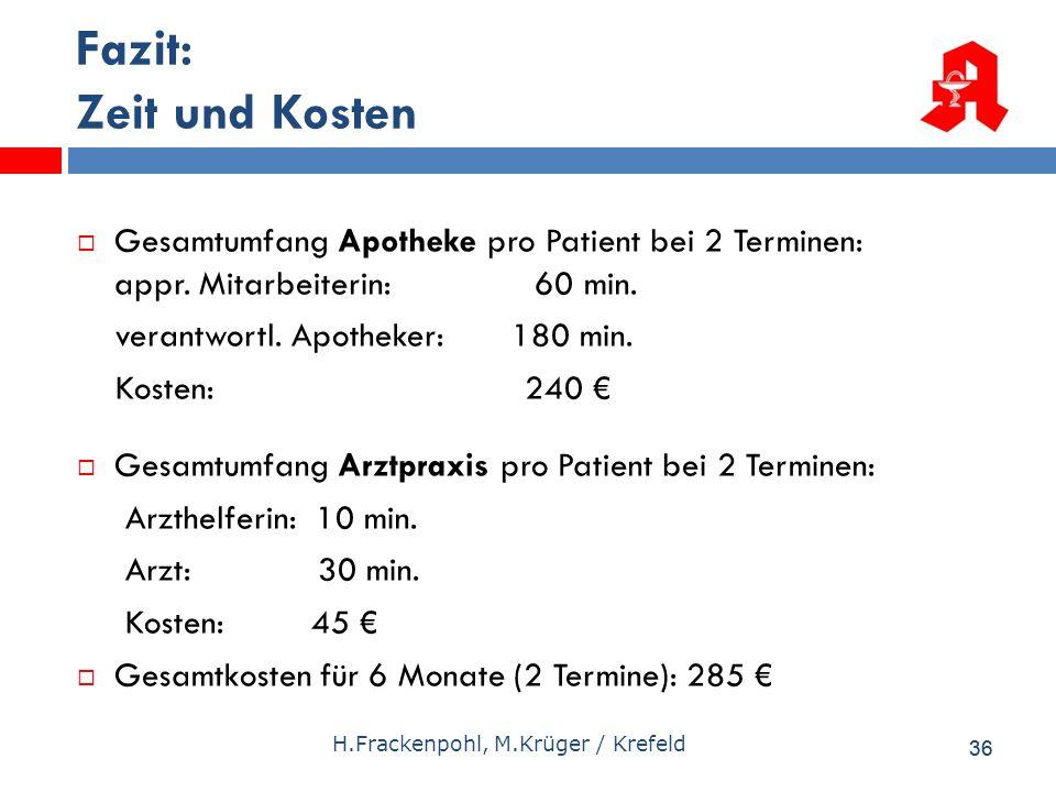36 H.Frackenpohl, M.Krüger / Krefeld Fazit: Zeit und Kosten Gesamtumfang Apotheke pro Patient bei 2 Terminen: appr. Mitarbeiterin: 60 min. verantwortl