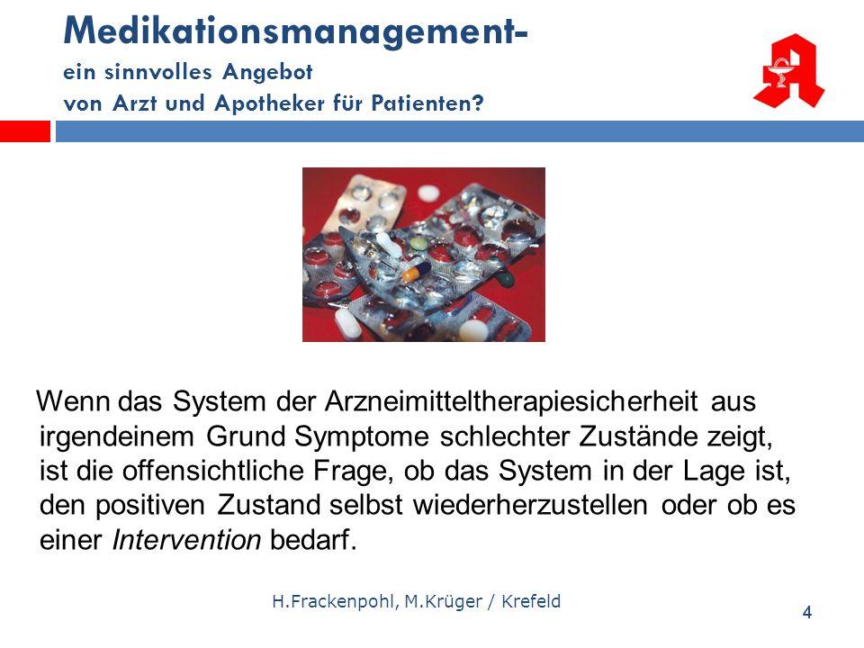 44 Medikationsmanagement- ein sinnvolles Angebot von Arzt und Apotheker für Patienten? H.Frackenpohl, M.Krüger / Krefeld Wenn das System der Arzneimit